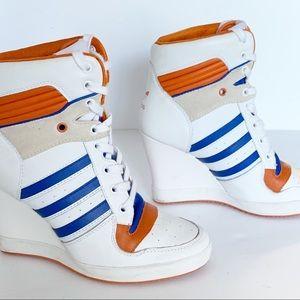 Adidas | High-Top High Wedge Heel, Orange/Blue